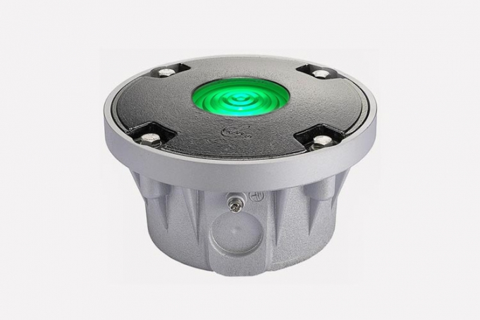 green and grey base heliport light to guide pilot for landing